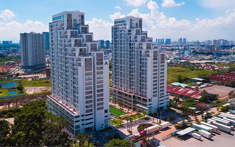 Hình chụp thực tế căn hộ LuxGarden từ trên cao năm 2021